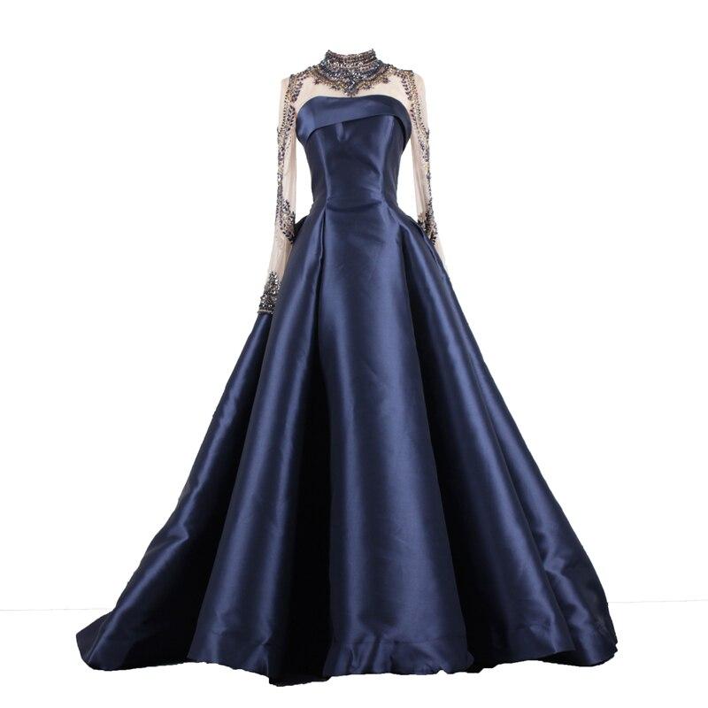 SoAyle Long Sleeve Beaded Evening Dress Ball Gown High Neck Dark Blue Prom  Dresses 2018 Wine Red Evening Dresses c97ae1b2b707