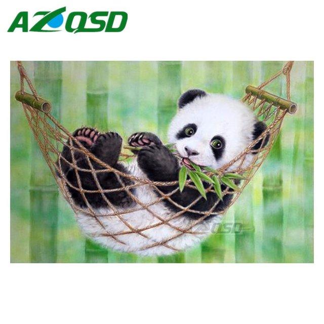 AZQSD DIY 3D Diamond Painting Cute Baby Panda Mosaic Painting Home Decor  Full Square Diamond Embroidery