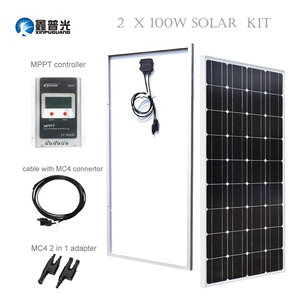 Xinpuguang 2*100 w 18 V support Kit solaire/panneau/système monocristallie silicium EPSOLAR MPPT contrôleur MC4 connecteur appareils ménagers