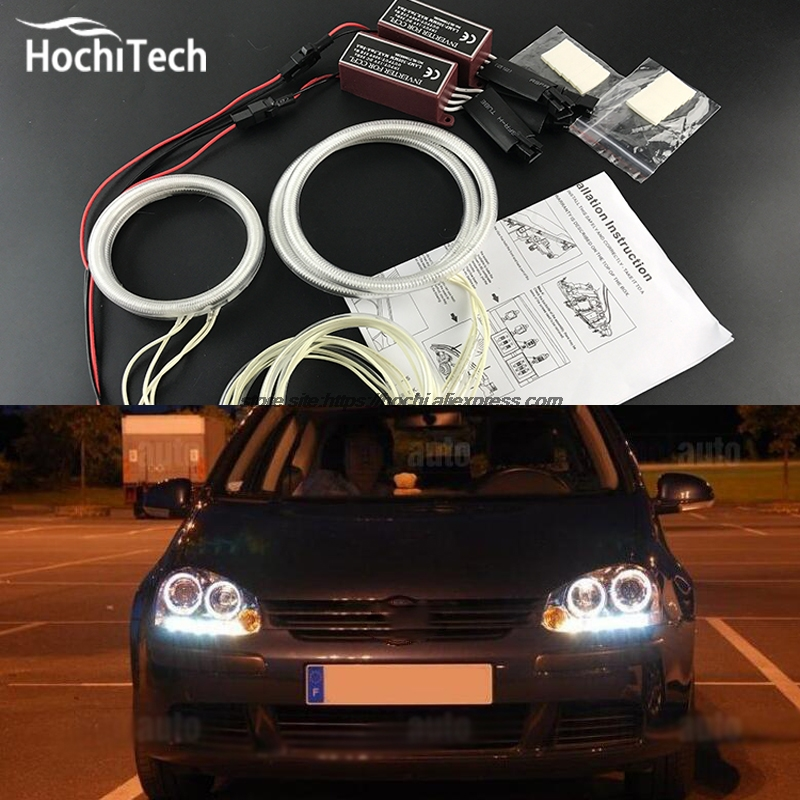 HochiTech WHITE 6000K CCFL Headlight Halo Angel Demon Eyes Kit angel eyes light for VW Volkswagen golf 5 MK5 2003-2009 hochitech white 6000k ccfl headlight halo angel demon eyes kit angel eyes light for mustang 2015 2016 2017