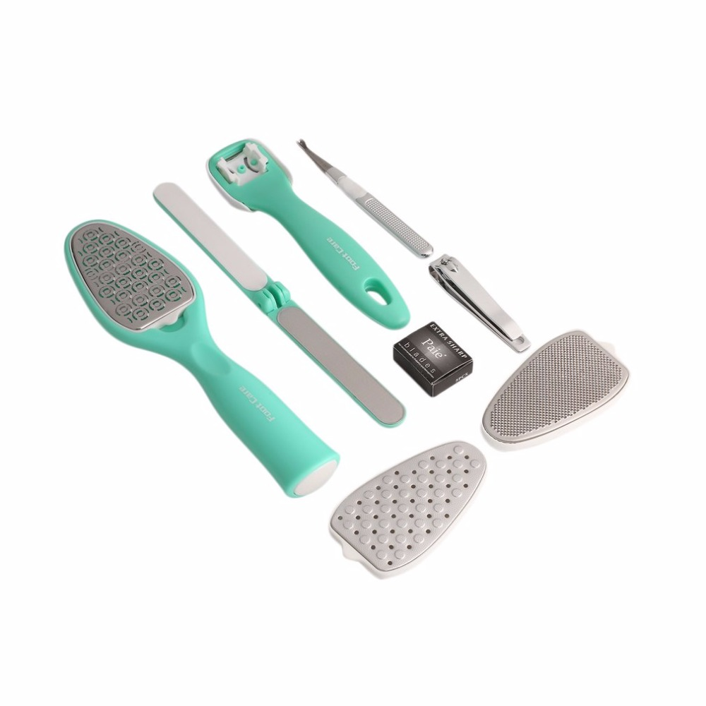 1Set 8pcs Pedicure Kit Eight In One Foot Grinder Exfoliating Calluses Dead Skin Corn Xerochasy Horny Foot File Suit Top Quality