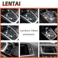 LENTAI Auto Car Carbon Fiber Wholesale Gear Shift Knob Panel Trim Sticker For Audi A4 B6 C5 B8 B7 B5 A5 Q5 2012 2016 Accessories