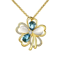 Lucky Four Leaf Clover Friend Gifts Jewelry Blue Crystal Opal Stone Girls Charm Cute Necklace Bowknot