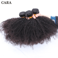 Afro Kinky Curly Hair 3 Bundles Brazilian Human Hair Bundles Natural Color Hair Extension Remy 10 28 inch CARA