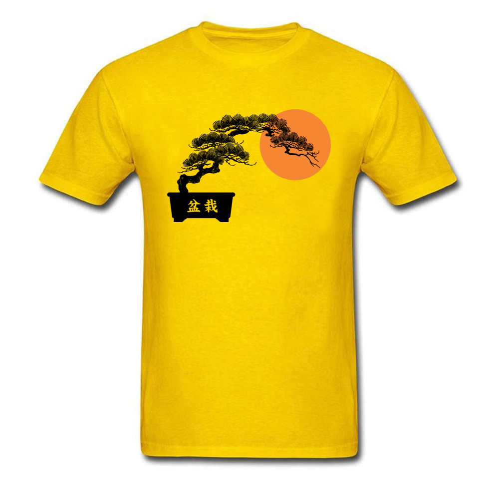 Chinesische Charakter Grün Bonsai T Shirts Männer Gruß Kiefer Männer der Pflanzen Fashion T-shirt Sonnenaufgang 100% Baumwolle Männlichen Tops
