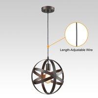 Vintage Pendant Light Nordic Simple Metal Globe Shape Loft Industrial Style for Dining Room Kitchen Bar