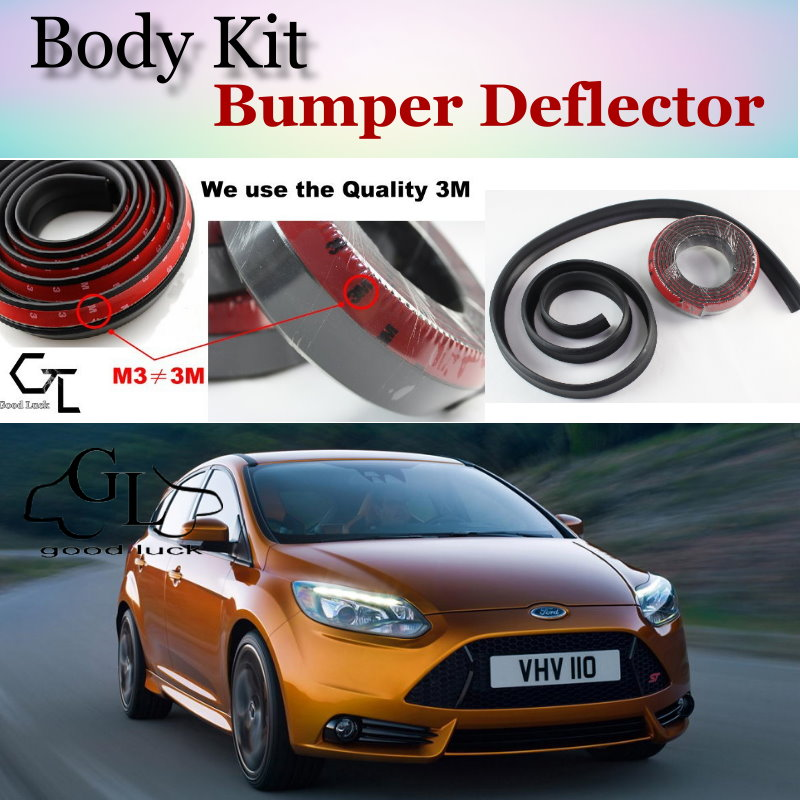 Bumper Lip Deflector Lips For Ford Focus / ST Front Spoiler Skirt For GOOD  LUCK Friends Car View Tuning / Body Kit / Strip