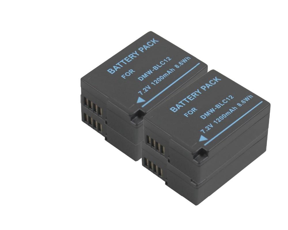 Free Shipping new 4 piece DMW-BLC12 Battery and Dual Charger for DMC-GH2 GH5 GH6 GH2HS FZ200GK dste for panasonic dmc gh2 dmc gh2gk dmc v lux4 dmc g7 smart digital 1 5a dual charger compatible 2xli ion dmw blc12 batteries
