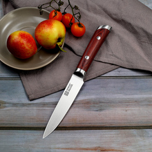 SUNNECKO 5 inch Utility Kitchen Chef Knife Cutting Tools German 1.4116 Steel 58HRC Strong Sharp Razor Blade Color Wood Handle