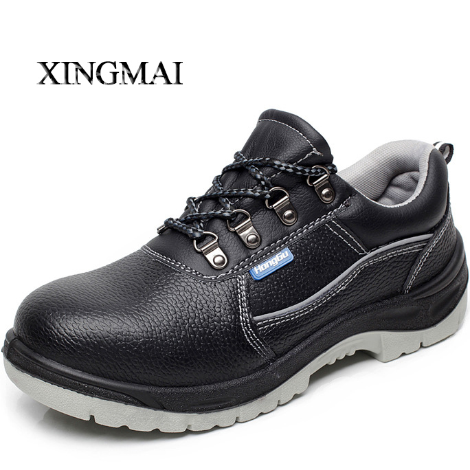 2016 men's black breathable dress steel toe cap work safety shoes large size oil proof waterproof non-slip men boots