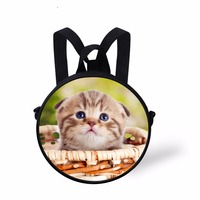 WHOSEPET Cute Cats Round Messenger Bags Dogs Printing Shoulder Bags For Women Girls Children Mini Backpack