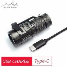 На дороге U16 USB фонарик Тип-C USB заряда компактный светодиодный факел маленький миниатюрный на светодиодах CREE 1020lm EDC фонарик (без Батарея)