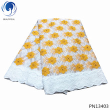 BEAUTIFICAL Tender yellow tulle lace fabrics 2019 white african embrodery laces nigerian hot products 5yards PN134