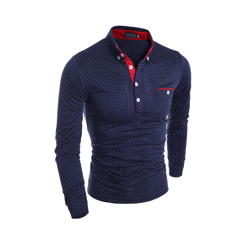 Mens   Polo   Shirt Brand New 2018 Autumn Male Long Sleeve Fashion Casual Slim Polka Dot Pocket Button   Polos   Men Jerseys