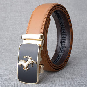 Image 4 - Cinturón de piel auténtica con hebilla automática para hombre, cinturones hebilla de aleación, de lujo