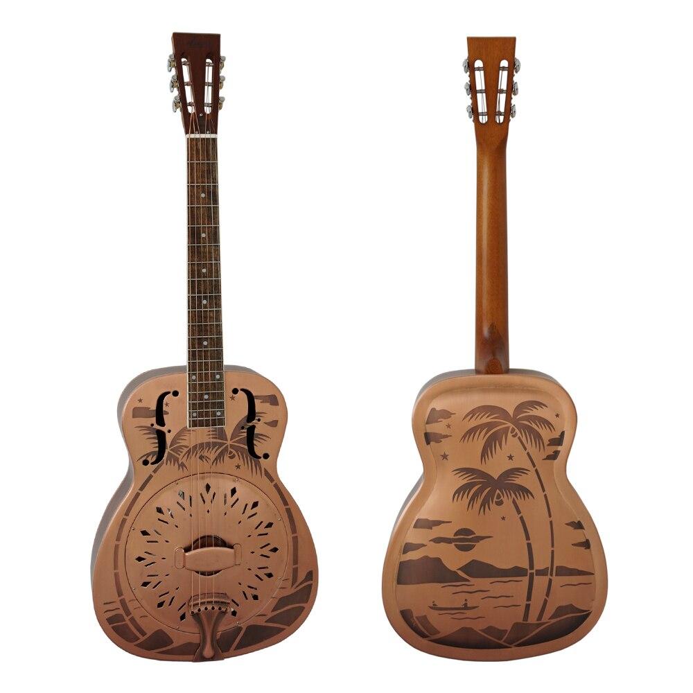 Aiersi Marque Rouge Rouille Finition Sablée Cloche En Laiton Blues guitare À Résonateur Livraison Cas et Sangle