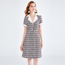 High Quality 2019 Early Autumn New Womens Dress Houndstooth Pattern Stitching Lapels Short Sleeve Waist Slim Ladies