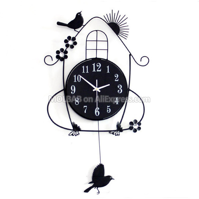 buy top design wall clock decorative iron. Black Bedroom Furniture Sets. Home Design Ideas