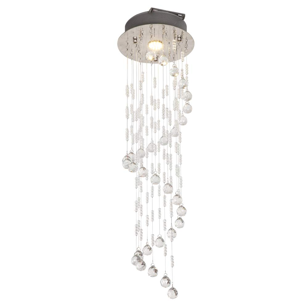 Helix gouttelettes lustre K9 rond cristal verre GU10 ampoule salon moderne plafond lustre