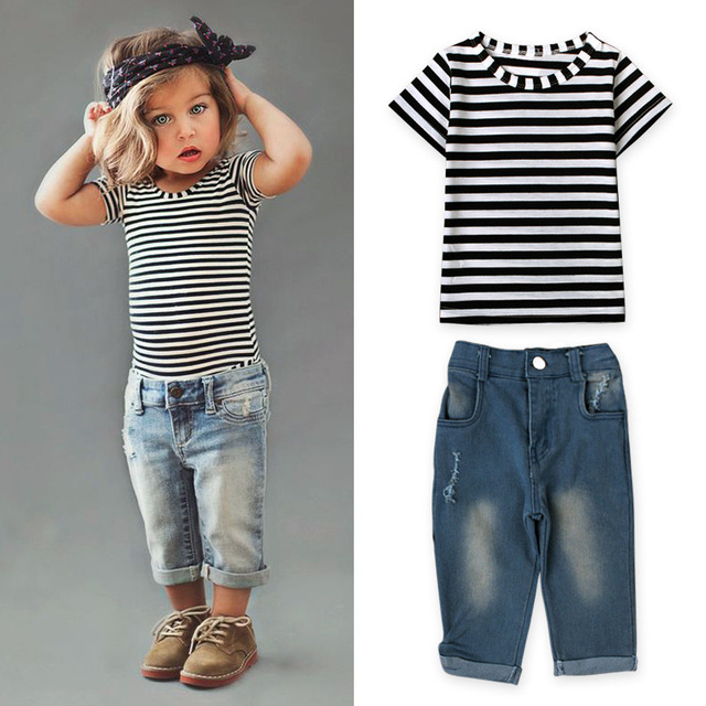 b7a12b00dd72 baby girl clothing set summer and summer wear kids suits clothing t shirt  and ripped jeans baby costumes fashion and casual gift