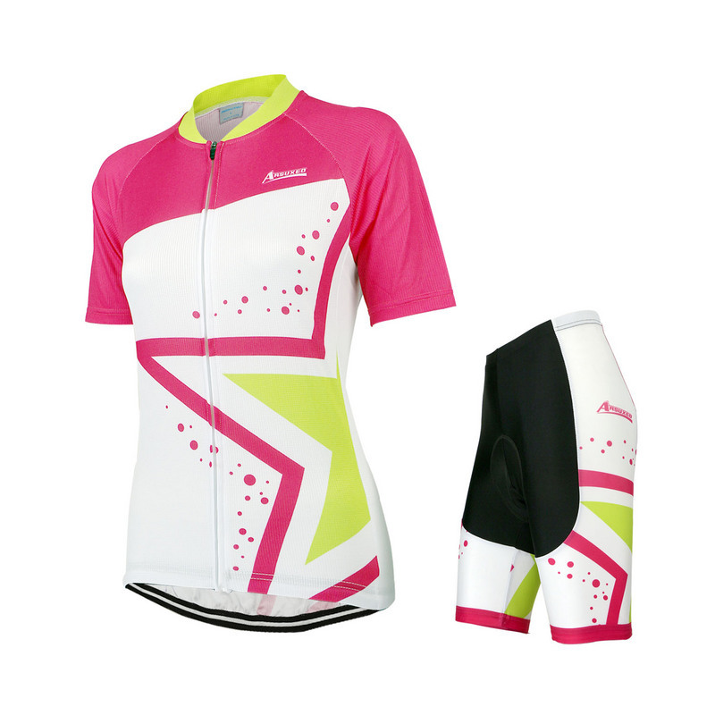 42d8abc6f ARSUXEO Female Women s Summer Short Sleeve Cycling Jersey Shorts Set MTB  Bike Bicycle Racing Shirt Set Sportswear Clothing-in Cycling Sets from  Sports ...
