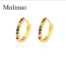 2019 Molinuo rainbow cz circle hoop earring mini small hoops delicate minimal jewelry for female women fashion