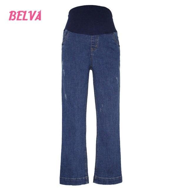 Белва Беременных женщин живот джинсовые брюки ноги свободные джинсы материнства беременности женщины жан мода расклешенные брюки 540
