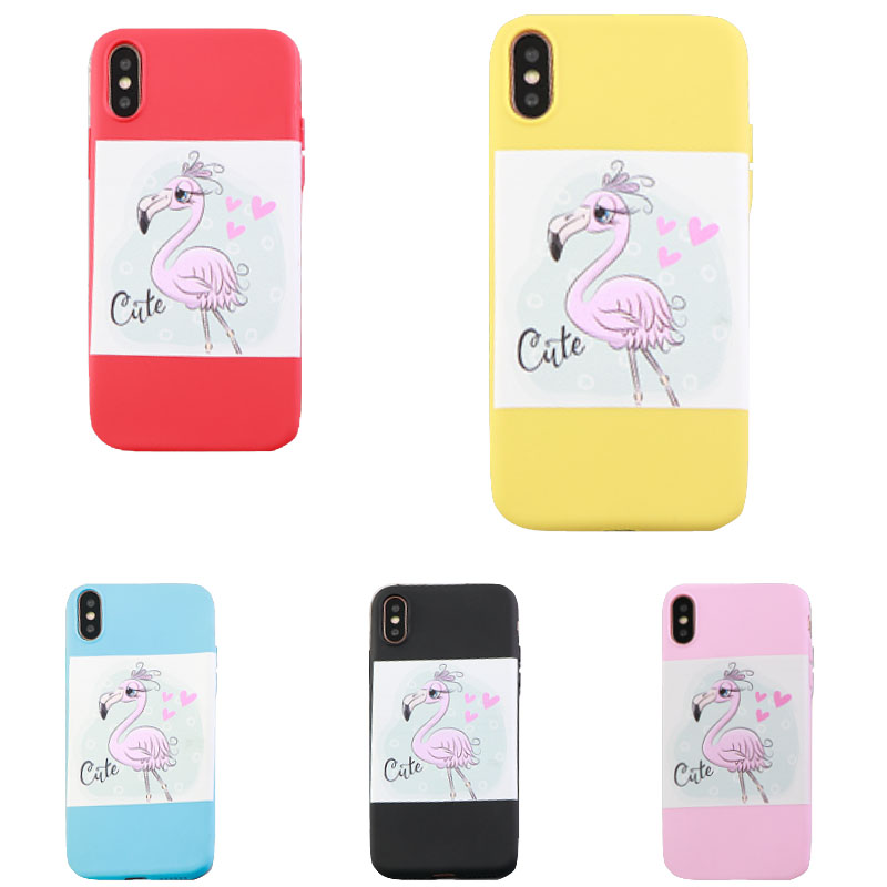 Phone Case Decals Eco Friendly Silicone Cute Flamingo Emoji IPhone Case X 6  6s 7 Plus Covers Waterproof Funda Iphone Xs Max XR