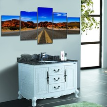 5 Piece Blue Sky Nature Rocks Road Landscape Picture Top-Rated Canvas Print Type Wall Decor Valley of Fire State Park Poster