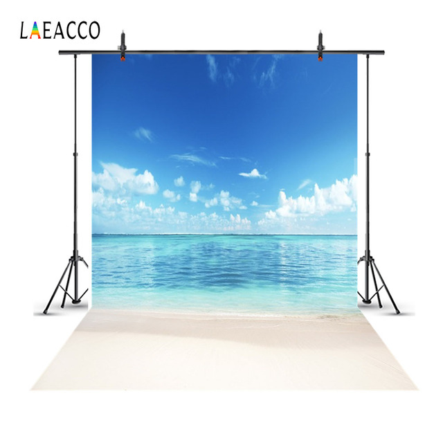 Laeacco Cloudy Blue Sky Seaside Beach Scenic Summer Holiday Party Photography Backgrounds Photographic Backdrop For Photo Studio