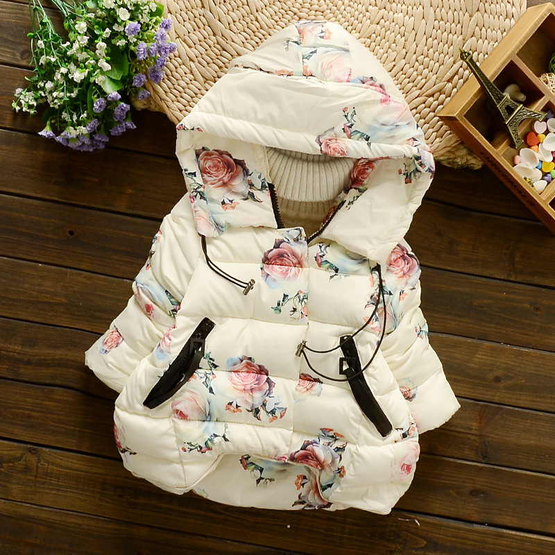new winter children outerwear coat floral printed cotton padded baby girls down jacket hooded thicken warm kids girl down&parkas цена