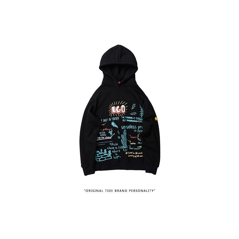 Korean Pullover Sweatshirt Streetwear Men Fashion  Casual Tops Harajuku Hip Hop Cactus Graffiti Print Fleece Hooded Hoodies