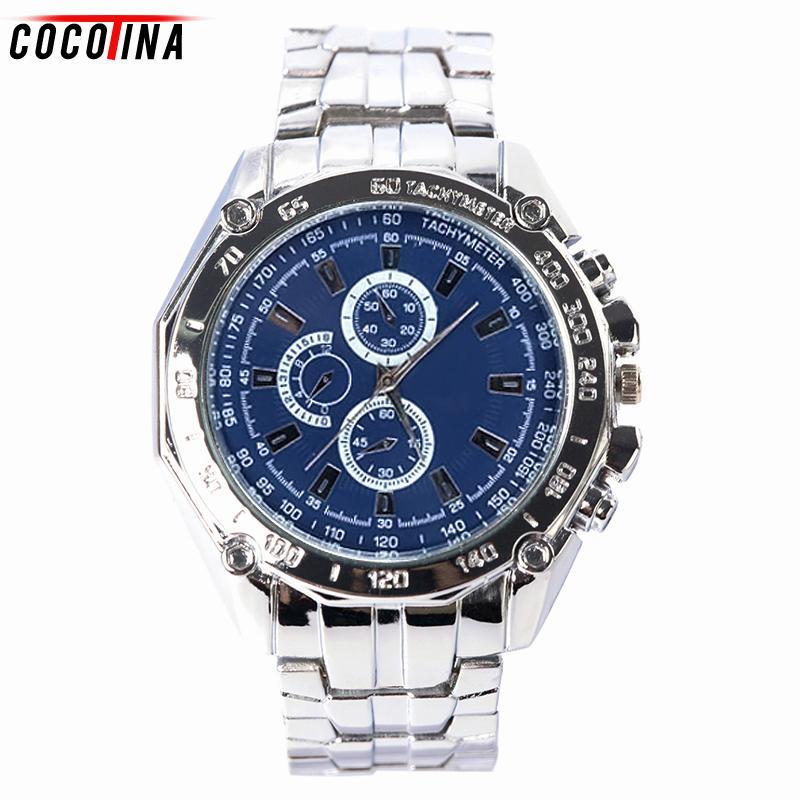 Hombres de moda de lujo relojes de negocios 3 ojos deporte cuarzo Chronome reloj hombres acero inoxidable de cuarzo analógico reloj para hombre