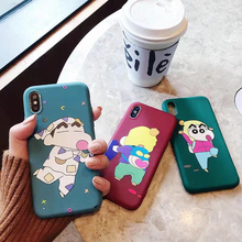 Cute Cartoon Crayon Shin-chan Colored Drawing Soft TPU Case For iPhone XS XR XS MAX Case For iPhone X 6 6S 7 8 Plus Case цена и фото