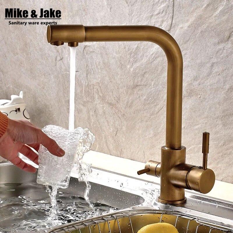 Double function antique brass kitchen mixer faucet 3 way kitchen faucet sink mixer water kitchen dinking