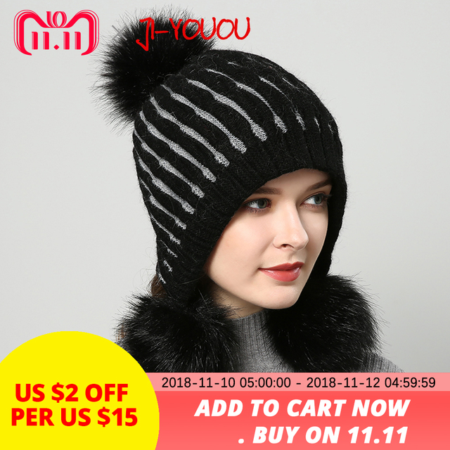 6663844a7f7 2018 winter hats for women hat with fur women s knitted hat beanie pompom  Thicker Women s cap beanies Selling beanie wool for