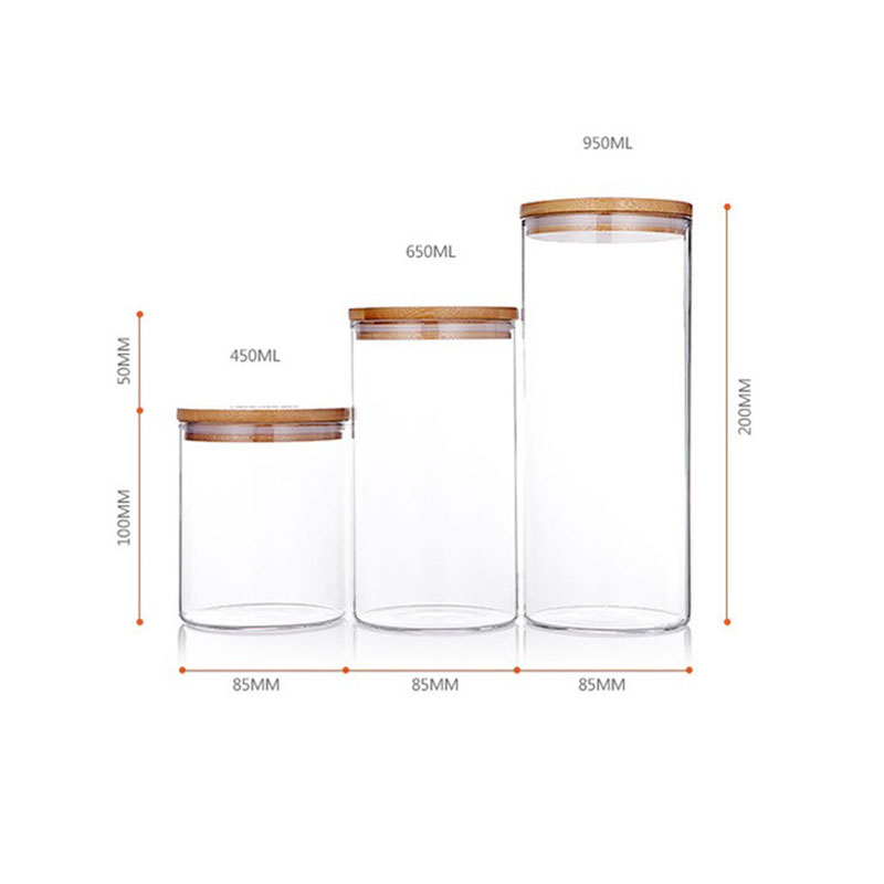 Glass Storage Bottle with Bamboo Lid Kitchen Accessories 1