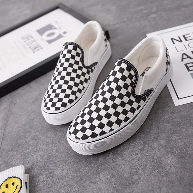 Fashion Canvas Shoes Woman Loafers Brand Women Casual Shoes Black White Plaid Comfortable Slip On Flat Women's Shoes Size 35 44