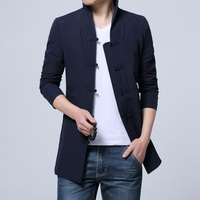 2019 Pure Color Men Jackets Long Sleeve China Style Male Jacket, Black ,Dark Blue, Dress Coats Man Size S M L XL 2XL 3XL