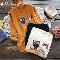 Amourlymei 2018 Autumn Women Sweater Mori Girl Solid Color O neck Cartoon Owl Long Sleeve Knitted Sweaters Pullover Tops Female