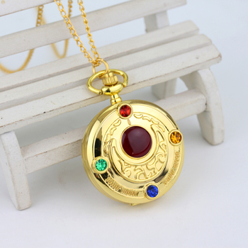 Luxury Golden Fashion Sailor Moon Anime Cartoons Quartz Pocket Watch Analog Pendant Necklace Girl Women's Watches 1