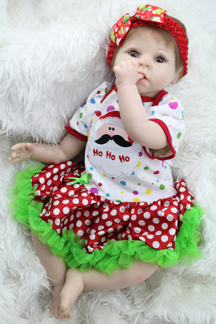 22 inch silicone reborn babies Doll Soft  Girls Christmas Gift Baby Toys Birthday Gifts Juguetes LifeLike bonecas  kids toys