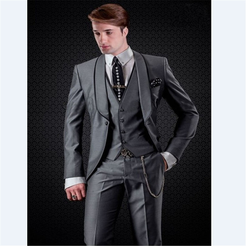 Custom Made Men's Suits Tailored Made Groomsmen Shawl Lapel Groom Tuxedos Men Suits Party Prom Terno Masculino Vestidos 3pcs