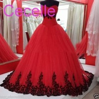 2018 Vintage Ball Gown Princess Black And Red Gothic Wedding Dresses Sweetheart 1960s Colorful Bridal Gowns With Color Non White
