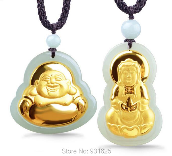 Natural HeTian Yu 100% Pure Solid 18 K Gold Buddha Kwan-Yin Lucky Amulet Pendant + Necklace + Certificate Fine JewelryNatural HeTian Yu 100% Pure Solid 18 K Gold Buddha Kwan-Yin Lucky Amulet Pendant + Necklace + Certificate Fine Jewelry