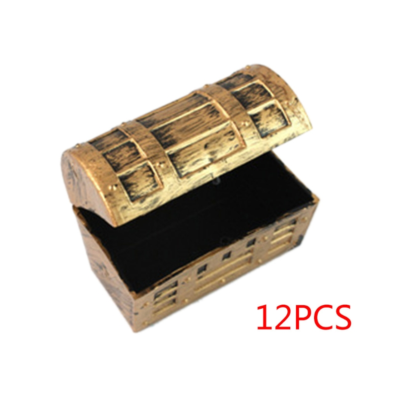 12pcs Mini Pirate Gold Treasure Chests Kids Toy Cake Decoration Candy Box Gags & Practical Jokes Kids Gift