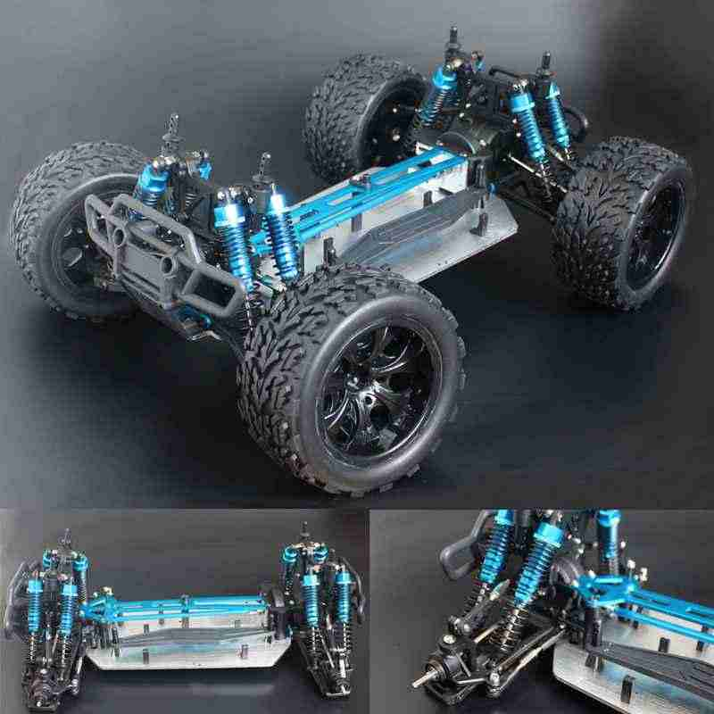 Chassis upgrade versie 1/10 RC 4WD Model Car Buggy Monster Bigfoot Truck Lege Frame Borstelloze versie HSP 94111