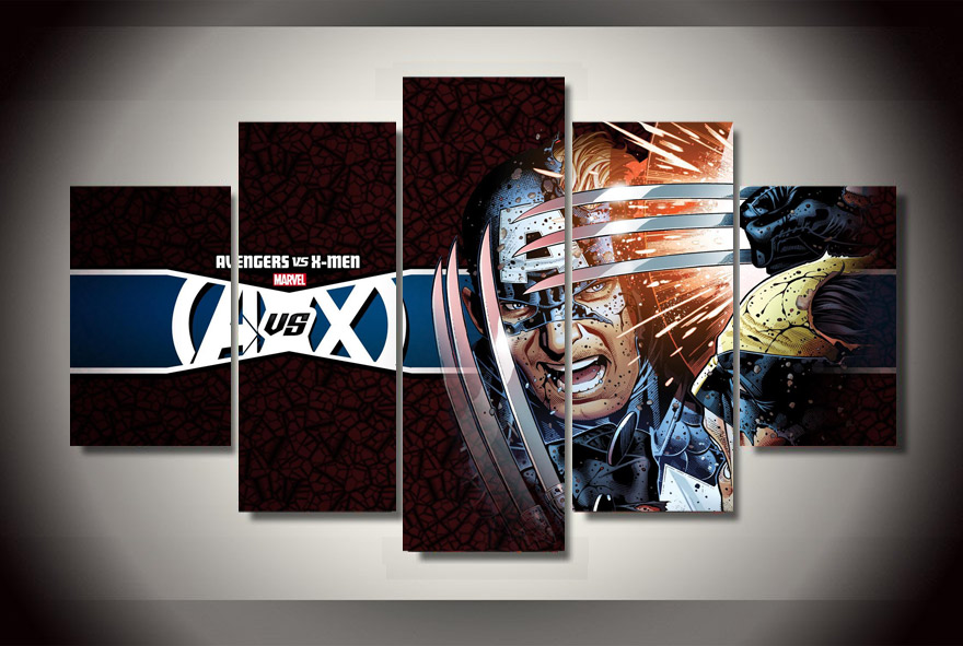 5pcs with framed printed avengers vs x men wolverine wall for X men room decorations
