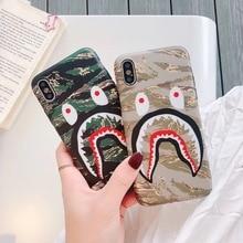 286ec0a5bd Mode tendance planche à roulettes bouche de requin Camouflage coque de  téléphone pour iphone 7 8 6 6 s plus X S Max Xr couvertur.