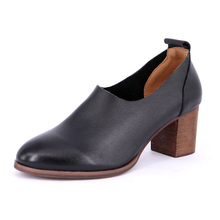 Spring And Autumn High-heeled Shoes Women Genuine Leather Thick High Heels Shallow Mouth Women's Pumps Black Grey